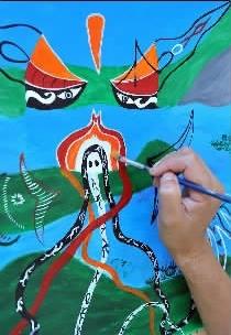 《章鱼脸谱图》王定昶  浙江嵊泗县渔民画大部分出自年轻的渔家儿女之手,这些年轻人除少数具有半年至一年的素描基础培训外,大部分人从未拿过画笔.